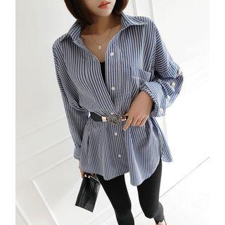 GUMZZI - Slit-Side Button-Trim Striped Shirt