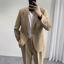 Bay Go Mall - Set: Plain Single-Button Blazer + Dress Pants