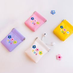 YUPIN - Embroidered Flower Earphone Carrying Pouch