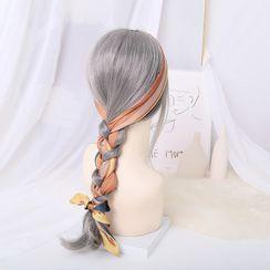 MISHORE - Striped Narrow Scarf / Hair Tie