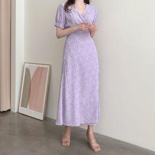 Leoom - 短袖碎花裹式A字連衣中裙