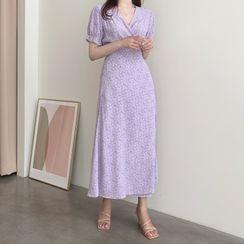 Leoom - Short-Sleeve Floral Wrap A-Line Midi Dress