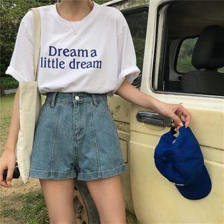Closette - High-Waist Denim Shorts