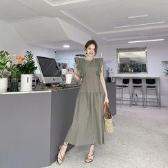 DEEPNY - Sleeveless Frilled Lace-Trim Maxi Dress