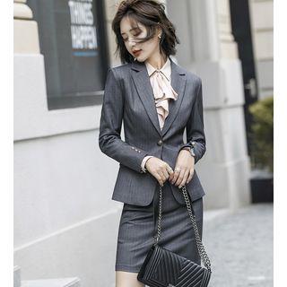 Victoire(ヴィクトワール) - Pinstriped Blazer / Dress Pants / Mini Pencil Skirt / Blouse / Vest / Set