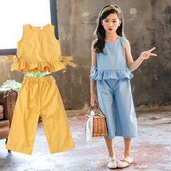 PAM(パム) - Kids Set: Sleeveless Ruffled Blouse + Capri Straight-Cut Pants