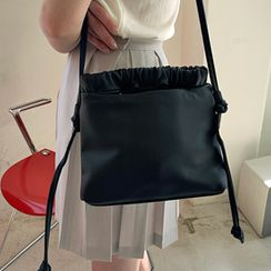 FROMBEGINNING - Shirred Pleather Cross Bag