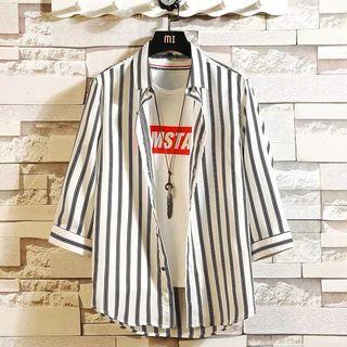 Averer - 七分袖條紋鈕扣襯衫