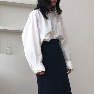 Baage(バージュ) - Long-Sleeve Crewneck Plain Shirt