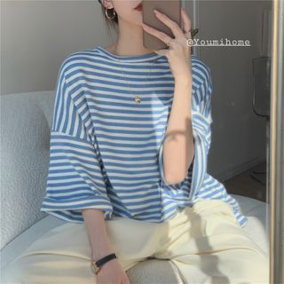 Magimomo - Elbow-Sleeve Striped T-Shirt