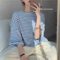 Magimomo - Elbow-Sleeve Striped T-Shirt