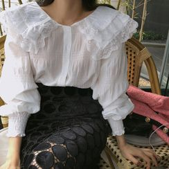 YANSAE - Wide Layered-Collar Lace-Trim Blouse