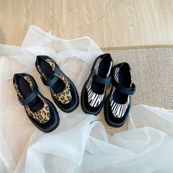 Hipsole - Patterned Panel Platform Mary Jane Shoes
