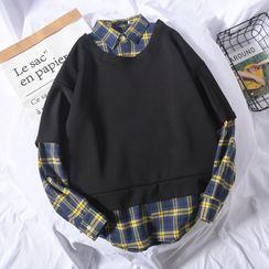 Wescosso  - 格子假兩件衛衣