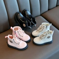 Doradas - Kids Faux-Leather  Lace-Up Zipped Short Boots