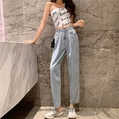 Flowerisque - Washed Straight-Cut Jeans