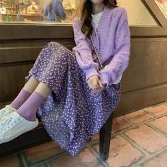monroll - Cable Knit Cardigan / Floral Print Midi Skirt