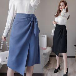 Ewane - Buckled Midi Wrap A-Line Skirt