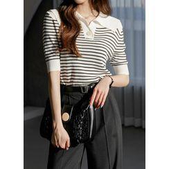 Styleonme - Sailor-Collar Stripe Knit Top
