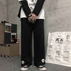 Blackcola - Floral Embroidered Straight-Cut Pants