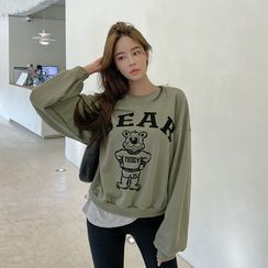 DABAGIRL - Teddy Bear Print Sweatshirt