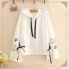 Kawaii Fairyland - Cat Print Lace-Up Hoodie