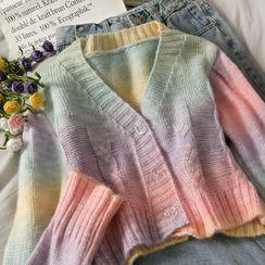 Lemongrass - Rainbow-Gradient Crpped Cardigan