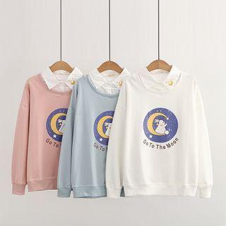 TOJI - Mock Two-Piece Rabbit Print Sweatshirt