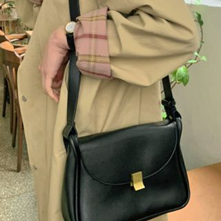 FROMBEGINNING - Flap Pleather Shoulder Bag