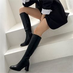 MONOBARBI(モノバービ) - Square-Toe Block-Heel Long Boots