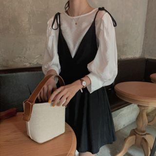 monroll - 3/4-Sleeve Blouse / Spaghetti Strap Pinafore Dress
