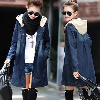 Hilsah - Hooded Denim Trench Jacket