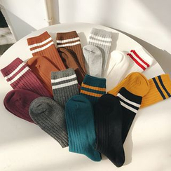 Pompabee - Striped Crew Socks