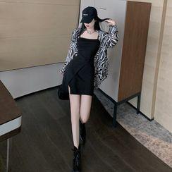 Themis - 細肩帶迷你塑身連衣裙 / 斑馬印花襯衫