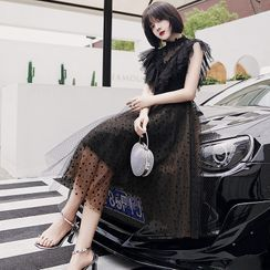 Sennyo - Stand Collar Ruffled Lace Panel Mesh Cocktail Dress
