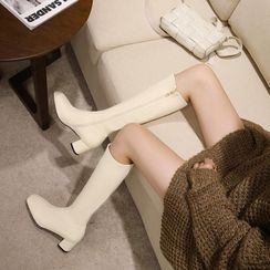 Freesia - Plain Chunky Heel Tall Boots