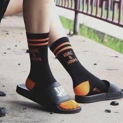 ASAIDA - Striped Lettering Socks