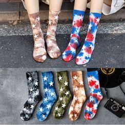 Cloud Femme - Couple Matching Star Print Tie-Dye Socks
