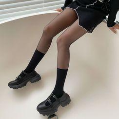 MEIA - Knee-High Socks Panel Tights