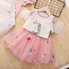 ZiG ZaG - Kids Set: Unicorn Short-Sleeve T-Shirt +  A-line Skirt
