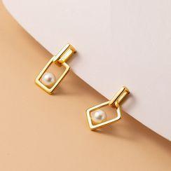 A'ROCH - Faux Pearl Rectangle Sterling Silver Dangle Earring