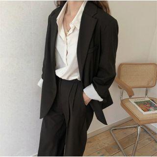 Lewwe - 单排扣西装外套 / 宽腿西裤