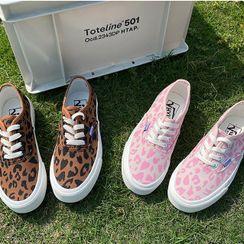 STEPUP - Leopard Print Lace Up Shoes