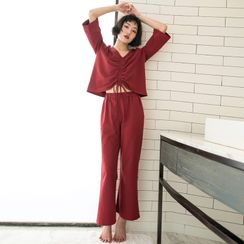 Cinni - Pajama Set: 3/4-Sleeve Ruched-Front Top +  Pants