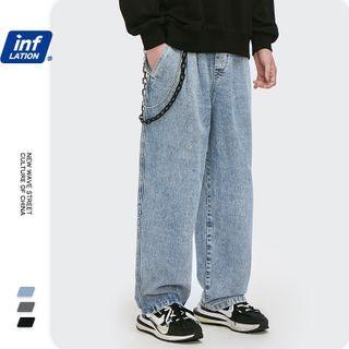 Newin - 宽松抽绳洗水直筒牛仔裤