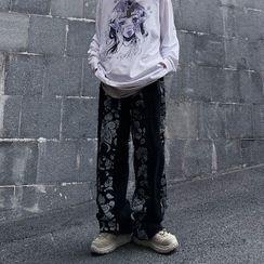Porstina - Paisley-Print High-Waist Straight-Cut Jeans