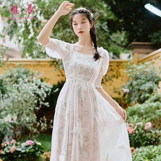 AMOS - 套裝: 樹葉印花細肩帶直身連衣中裙 + 蝴蝶刺繡短袖直身連衣中裙