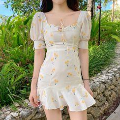 Pandelia - Floral Print Short-Sleeve Ruffle Hem Mini Sheath Dress
