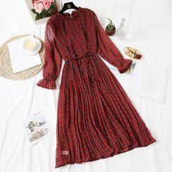 NINETTE - Printed Long-Sleeve Midi Chiffon Dress