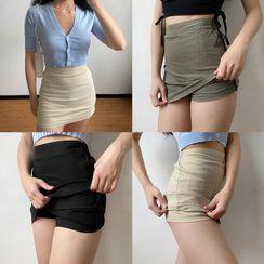 Sinora - 纯色束腰迷你铅笔裙裤